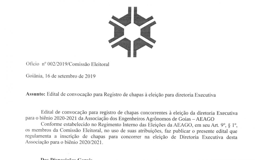 Edital de Convocação para Registro de chapas à eleição para diretoria Executiva